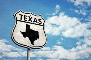 Route 66 Texas map road sign.