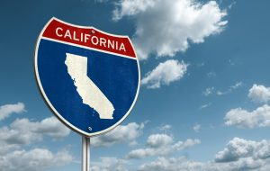 Interstate road sign illustration with the map of California.
