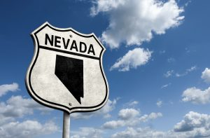 Route 66 Nevada state map road sign