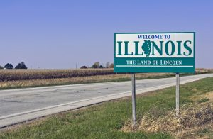 A welcome sign at the Illinois state line